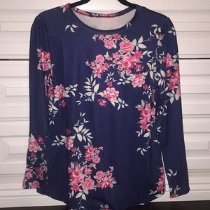Floral long sleeve top stretch